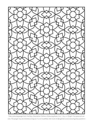 Easy Geometric Patterns Colouring Book - free sample page