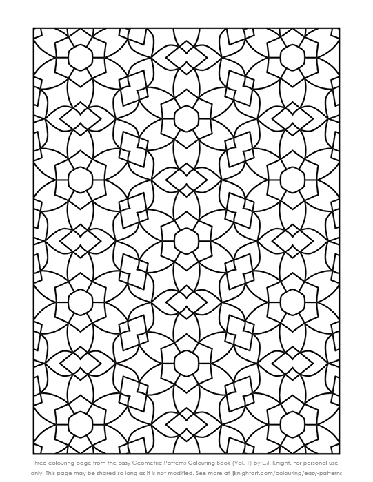 Free simple geometric pattern printable collouring page by L.J. Knight