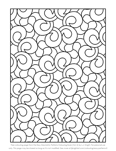 Easy Geometric Patterns Colouring Book (Volume 2) - free sample page