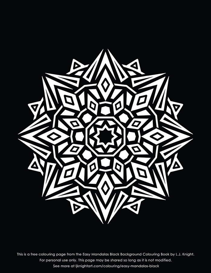 Free simple mandala colouring page with black background