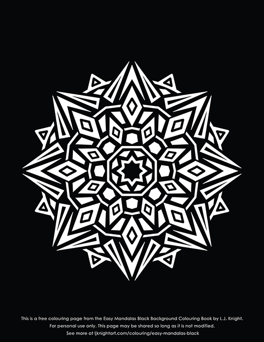 Free abstract black background mandala printable colouring page