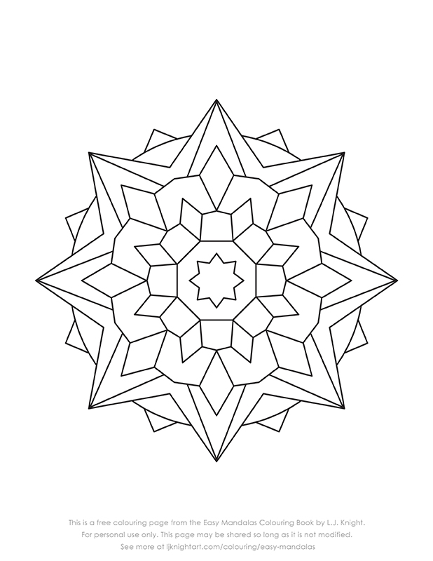 Free simple mandala colouring page