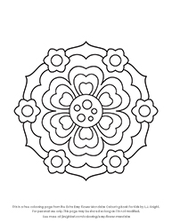 Free Extra Easy Flower Mandalas Colouring Page