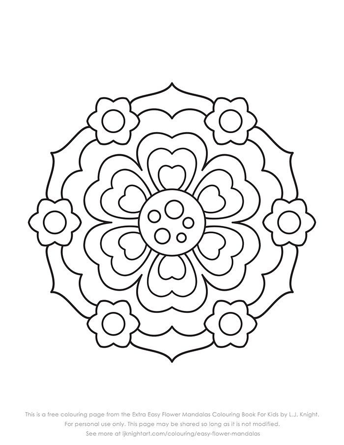 Free very simple flower mandala colouring page