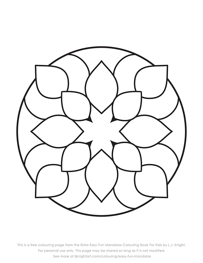 Free very simple mandala printable colouring page