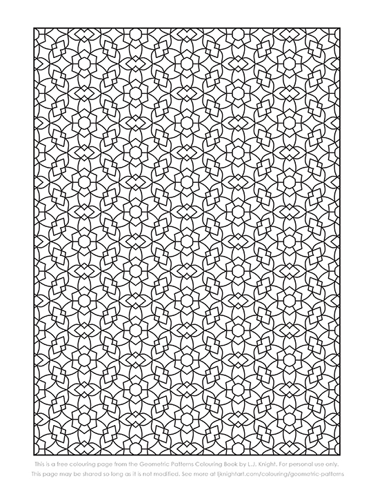 Free geometric pattern colouring page