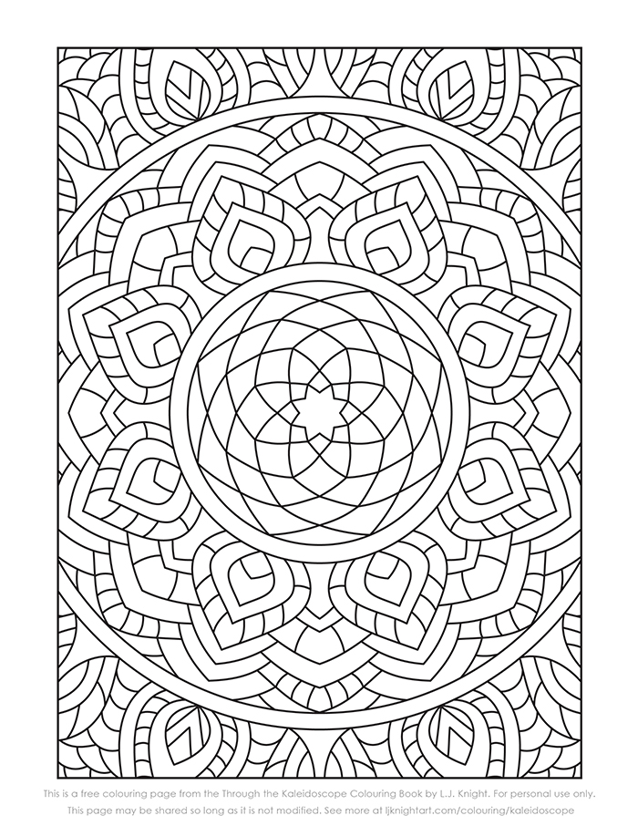 Free abstract kaleidoscope pattern colouring page