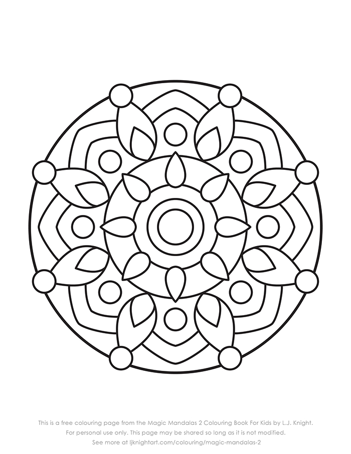 Free simple mandala printable colouring page download