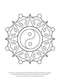 Free Simple Yin Yang Mandala Colouring Page