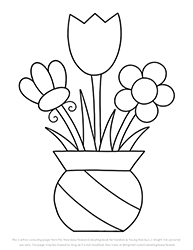 Free Very Easy Flowers Colouring Page for Toddlers and Young Kids