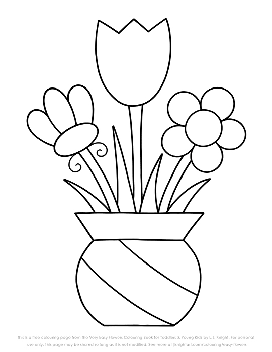 Free easy flower colouring page for toddlers, kids and beginners