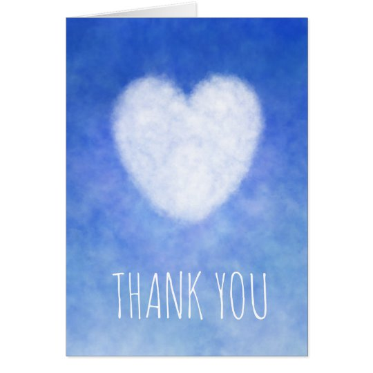 Customisable thank you card with blue and white heart design