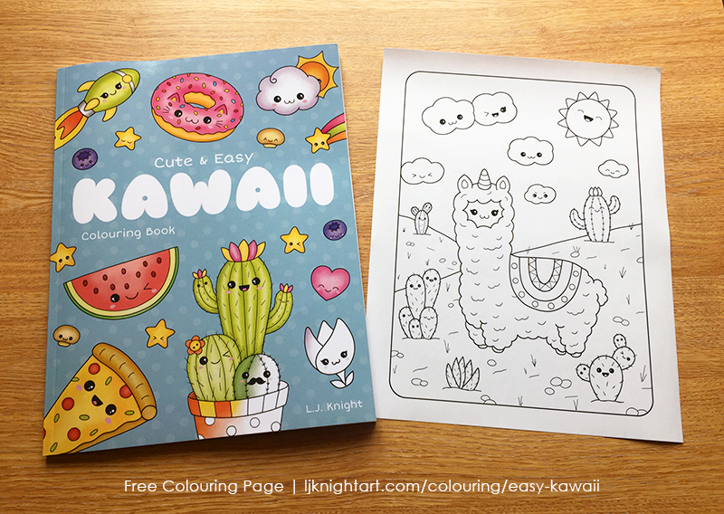Free printable cute kawaii llama / llamacorn colouring page