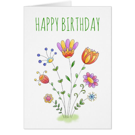 Customisable birthday card with watercolour flower design
