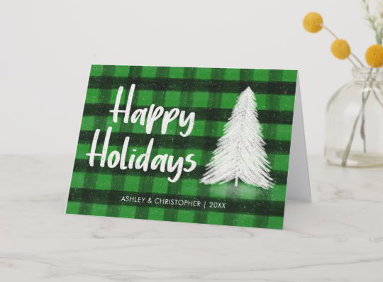Customisable Green Buffalo Plaid Tartan Holiday Card