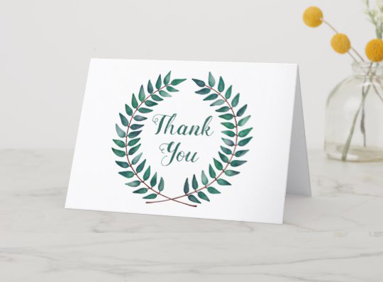 Customisable thank you card