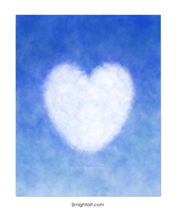 Blue and White Cloud Heart Painting