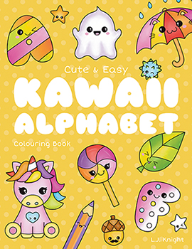 Cute and Easy Kawaii Alphabet  Coloring Book