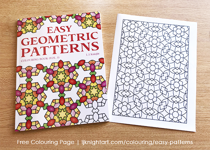 Free printable colouring page from the Easy Geometric Patterns (Volume 1) Colouring Book by L.J. Knight