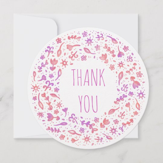 Customisable thank you card with coral floral wreath design