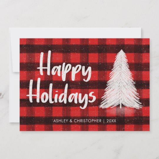 Customisable Red Buffalo Plaid Holiday Card