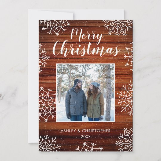 Customizable rustic wood and snowflakes Christmas holiday photo card
