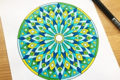 Abstract Mandalas Colouring Book - Coloured Page