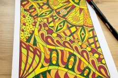 Easy Doodle Abstract Colouring Book - Coloured Page