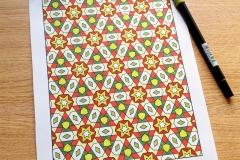 Geometric Patterns Colouring Book - Coloured Page