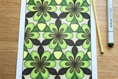 Easy geometric pattern colouring page