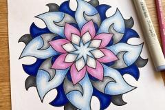 Abstract mandala coloured page
