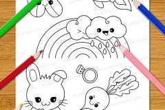 Cute & Easy Kawaii Alphabet Colouring Book - Preview