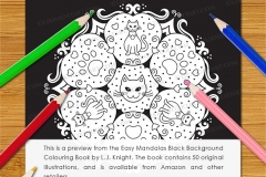Easy Mandalas Black Background Colouring Book - Preview