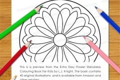 Extra Easy Flower  Mandalas Colouring Book - Preview