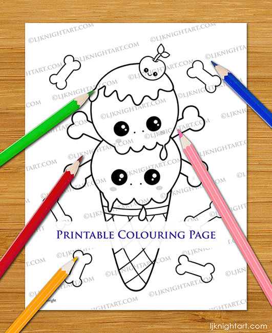 LJKnight-Kawaii-Skull-Cone-Colouring-Printable-650.png